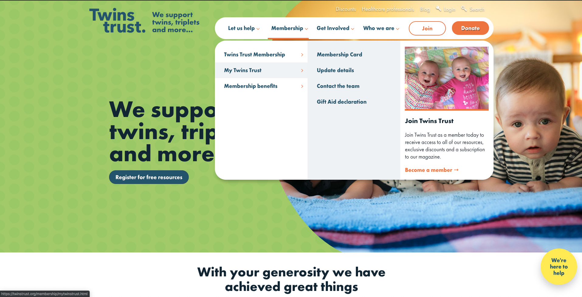 Image showing a screenshot of the Twins Trust homepage