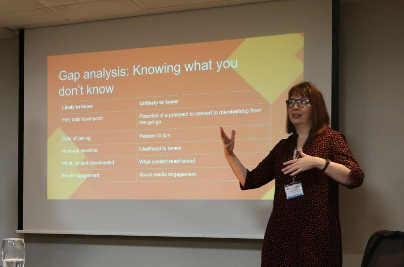 Image showing Pixl8's Lucy Conlan delivering a talk at Digital Excellence 2019