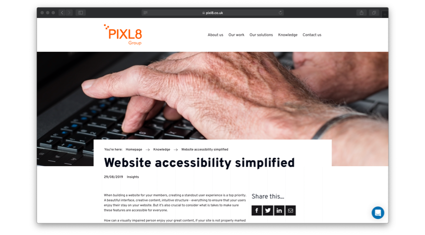 "Image showing a screenshot of the Pixl8 ""Website accessibility simplified"" blog"